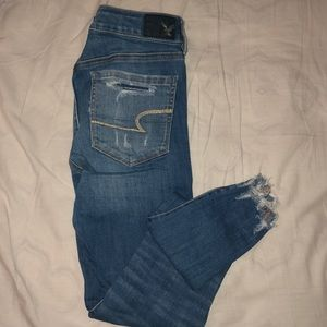 American Eagle Blue Ripped Jeggings